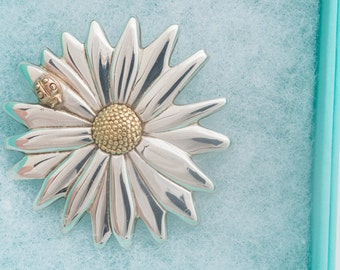Tiffany and Co Daisy Flower Pendant Pin Sterling Silver 18K Gold