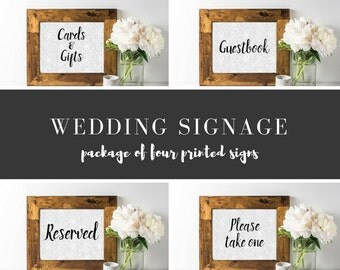 Wedding Signage - Package of 4 Wedding Signs - Guestbook Sign - Reserved Sign - Cards & Gift Sign - Please Take One Sign - Summer Weddings