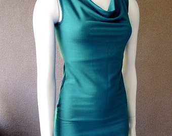 SALE Sleeveless cowl top, organic cotton top, bamboo tee, handmade top, made in Canada organic clothes