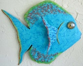 Reserved for Elizabeth Metal Art Wall Fish Sculpture Marine Decor Ocean Beach House Coastal Wall Hanging Indoor Outdoor Turquoise Aqua 7 x 9
