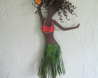 Metal wall art Hula girl island beach decor recycled metal wall hanging 22 x 6