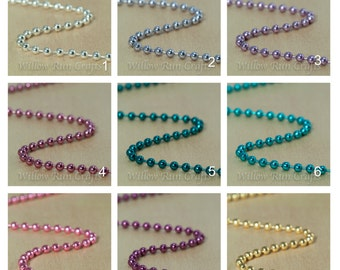 40 Colored Metal Ball Chain 2.4mm Necklaces with connectors, High quality, 24 inch length, Select Your Colors.