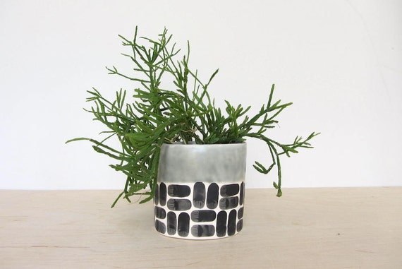 Round Brick Pinched Planter in Sage Green - Made to Order
