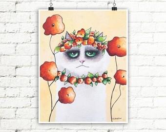 Ragdoll Cat Art Print, Cat Wall Decor, Funny Cat Portrait Animal Art Print, Pet Lover Gift
