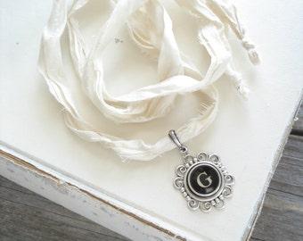 Typewriter Key Necklace. Letter G Necklace. Vintage Typewriter Key Jewelry. Long Boho Sari Silk Ribbon Necklace. Upcycled Eco Friendly Gift.