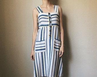 Soft Striped 80's Sun Dress