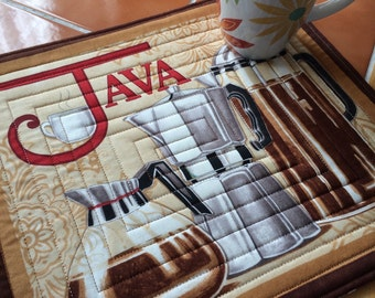 Java by Moda - Mug Rug or Candle Mat  Oversized Coaster Coffee Pot