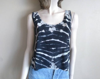MEDIUM WOMEN'S Reverse Tie Dye tank. Discharge mirror Spiral pattern women's tank top