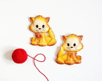 Vintage Miller Studio Chalkware Kittens / Vintage Yellow Cats Wall Decor