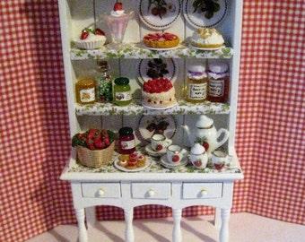 Dollhouse Filled Hutch, Hutch, Miniature hutch, strawberry hutch, Strawberry themed.   Twelfh scale dollhouse miniature