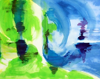 Surf Abstract Watercolor Print