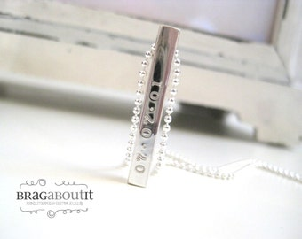 Solid Silver Bar Necklace . Hand Stamped Jewelry . Personalized Necklace . Brag Bar by Brag About It