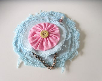 Shabby Flower  Flower Brooch, Beaded Hat Pin, Pin for Lapel, Blue and Pink Flower Corsage, Rustic Accessory, Gift for Mom, Under 10