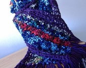 SALE Fun Artsy Bohemian Long Fringed Scarf  - Purple Suede Yarn Multi Colored Highly Textured -  Hand Crochet - Ready to Ship