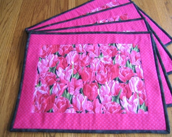 Quilted Placemats in a Pink Tulip Pattern - Set of 4