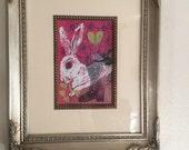 Original white rabbit art alice in wonderland inspired Victorian valentine drawing and collage bunny art garden theme wall decor pink art