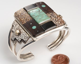 EXCEPTIONAL Navajo Cuff Bracelet by Vernon A Begaye:  Gold, Silver, Turquoise, Leopard Jasper, Onyx, Wood