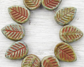 17x12mm Opaque Mossy Oak Picasso with Rusty Red Wash Czech Glass Leaf Beads - Qty 10 (BS61)