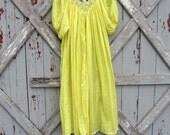 Chandi lemon yellow Mexican Oaxacan dress L XL XXL