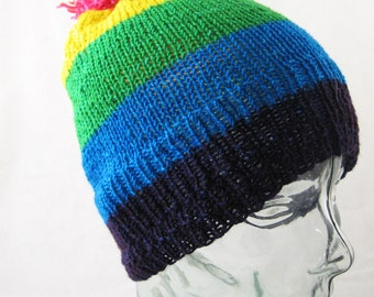 Proud - rainbow striped pom hat