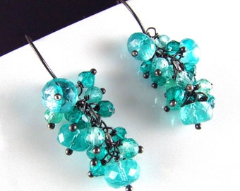 25OFF Colorful Apatite And Quartz Oxidized Silver Cluster Earrings