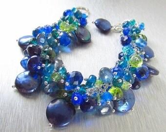 End Of Summer Sale Blue Pearl and Gemstone Cluster Sterling Silver Bracelet