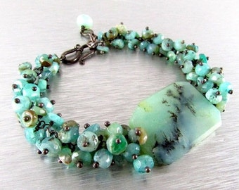 20 % Off Peruvian Opal With Oxidized Sterling Silver Cluster Bracelet