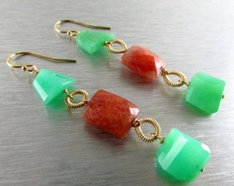 20 % Off Chrysoprase and Sunstone GF Wire Wrapped Dangle earrings