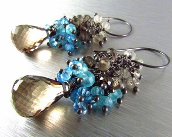 Smoky Quartz With Blue Quartz Cluster Oxidized Sterling Silver Earrings