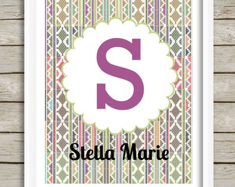 Personalized Nursery Print, Baby Girl Nursery Wall Decor, Custom Name Print, Tribal Aztec Nursery Art, Child Wall Art, Teen Girl Wall Art
