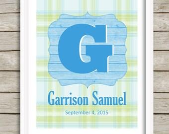 Custom Letter Art, Baby Boy Nursery Print, Boy Monogram, Kids Wall Art, Boy Nursery Decor, Personalized Nursery, Kids Gift, Wall Letter