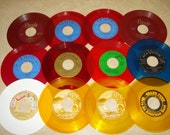 45 RPM Records for Crafts Lot of 12 Assorted Colors Supplies Oldies Altered Art Bowls Jewelry & More