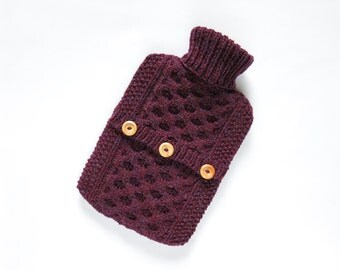 Hot water bottle cover / sweater - 100 per cent Scottish wool - Bramble. Hand Knit Bottle Cosy / Cozy.