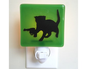 Funny Cat Night Light - Hand Painted Glass - Cat With a Gun
