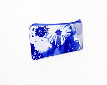 Fabric Zipper Pouch, Small Zipper Pouch, Small Cosmetic Bag, Coin Purse, Change Purse, Floral Zipper Pouch, Fabric Zipper Case, Blue Pouch,