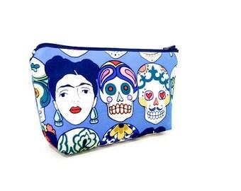 Fabric Zipper Pouch, Zipper Pouch, Pouch, Women's Pouch, Cosmetic Bag, Pencil Case, Zipper Case, Frida Kahlo Pouch, Day of the Dead Pouch