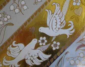 Vintage Gift Wrap 1980s Wedding Wrapping Paper- Gold & Silver Foil- Love Birds and Lillies Print Paper