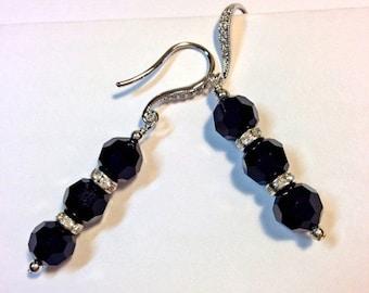 30% SALE Black Crystal Earrings Sterling Silver Swarovski Crystal Art Deco Style Dangle Earrings Evening Earrings