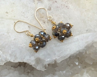 Labradorite Cluster Earrings 14kt Gold Fill Wire Wrapped Petite Labradorite Cluster Wedding Earring Bridesmaid Grey Earrings Everyday