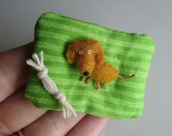 Dachshund Doxie Dog miniature felt stuffed animal plush with dog bed and rope toy play set