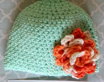 Premie/Small Newborn Knotted Carnation Flower Beanie
