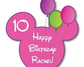 Birthday Balloons Pink Mouse Head Magnet for Disney Cruise Cabin Stateroom Door