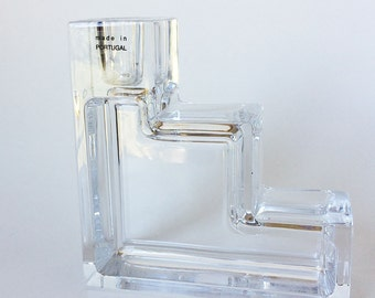 Mid Century Modern Crystal Glass Candle Holder, Cube, Taper Holder, Bookend