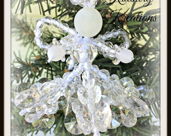 Glistening Beaded Angel Ornament /Glistening Angel Handcrafted Ornament (Ready to Ship)