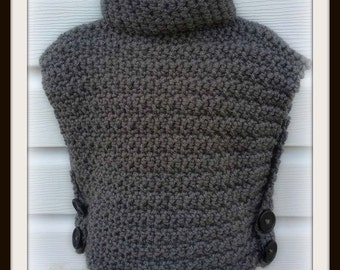 Cowl Neck Sleeveless Sweater - Cowl Neck Pullover - Crochet Cowl Pullover - Sweater - Crochet Poncho - Button Up Pullover