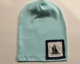 SALE, Sailboat slouch beanie, Newborn slouch beanie, newborn hat, newborn photo prop, ready to ship