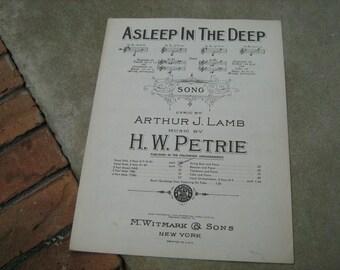 1897  vintage sheet music ( Asleep in the deep  )