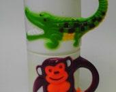 2 Plastic Childrens Mugs Kids Cups Monkey Alligator Crocodile