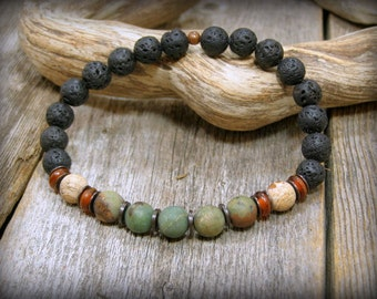 Bracelet for Men, Stack Bracelet, Gemstone Bracelet, Mens Jewelry, Stretch Bracelet,  Guys Bracelet, Mens Bracelet, Native American