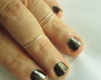 2 Plain Knuckle Ring / Pairs of Midis  - Handmade. Tarnish Resistant. Hypoallergenic. Adjustable. Personalized